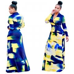 Hot style sexy suit neck deep V doodle print belt fashion dress CM033 as picture s