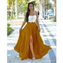 New Sling Backless Sexy Sleeveless Women Beach Chiffon Dress CMS9614 yellow s