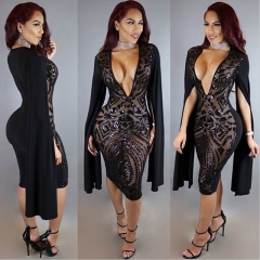 Women's Fake Long Sleeve Deep V Sequin Dress CMS9657 black s
