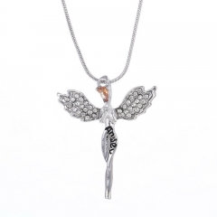 S925 jewelry full of crystal angel wings necklace, sweater chain silver one size