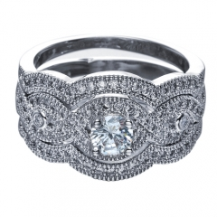 Rhodium Plated W/ Clear AAA+ CZ Three Piece-Wedding Engagement Ring Set silver 6