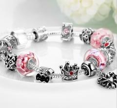 925 silver DIY creative box clasp crystal bracelet silver one size