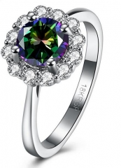 18K White Gold Silver Plated Flower Colorful CZ Ring silver 6