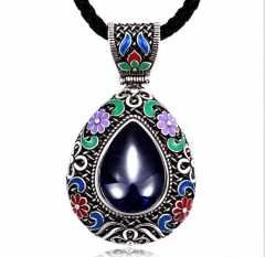 925 silver retro features national carved pendant, original hand-plated silver necklace silver one size