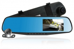 Classic explosion-proof high-speed driving recorder dual lens 4.3-inch rearview mirror recorder