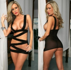 Sexy lingerie Cross bandage for lovers black one size
