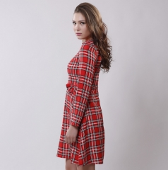 Lowest price limited-Printed large Plaid Bow neck dress red s