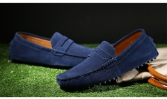The new men 's leather Peas shoes men' s sets of foot shoes British casual shoes dark blue 38