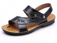Authentic men 's leather sandals male beach shoes cool slippers Black 38