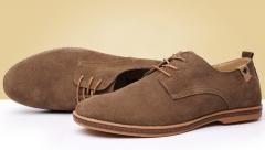 Strap shoes leather men 's casual shoes large size single shoes khaki 38