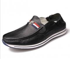 Set bean peas shoes lazy shoes leather casual shoes men shoes black 43