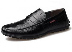 Peas shoes men leather casual shoes driving shoes lazy shoes black 38