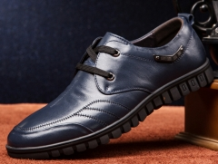 The first layer of leather men 's leather business casual leather shoes dark blue 38