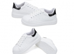 White lace shoes sports shoes casual shoes Korean thick soled running shoes tide White+Black 35