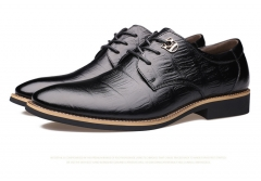 The new men 's first layer of leather business embossed shoes low shoes black 38