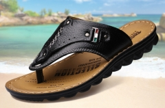Summer new men 's casual sandals slippers sandals leather sandals black 38