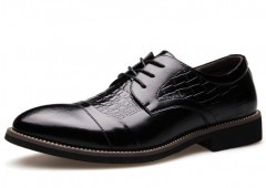 New men's crocodile pattern pointed business shoes black 38