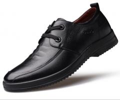 New casual shoes, single shoes, leather shoes, fashion suture men 's shoes black 38