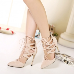 Cross Lacing shallow mouth suede high-heeled sandals Aricot 35