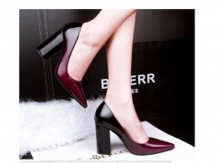 The new slim pointed shoes shoes with thick shallow mouth color sexy high-heeled shoes shoes OL wine red 35