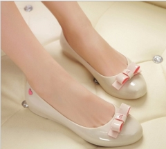 NEW Jelly  casual sandals round bow jelly sandals Apricot 36