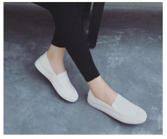 A lazy casual shoes white shoe pedal canvas shoes with flat white shoes Lok Fu shoes White 35