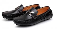 Men's leather comfortable wild Peas shoes black 38
