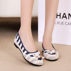 Old Beijing shoes Beijing Hongye brand shoes stripes shallow round mouth of the new women's shoes blue 35