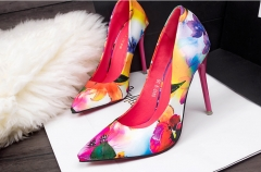 The new shallow mouth sexy thin elegant with floral pointed high heels shoes pink 35