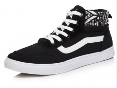 Men 's canvas shoes, high fashion men' s casual shoes, striped male students board shoes black 39