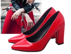 The new shoes high-heeled  with pointed shallow mouth nightclub coarse shoes OL shoes wedding shoes red 35