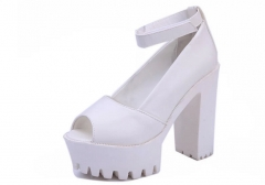 Europe and the United States with the new Roman fish head high - heeled water platform sandals shoes white 35