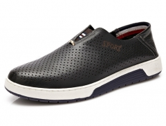 New leather British men 's shoes hole hole shoes casual breathable shoes black 38