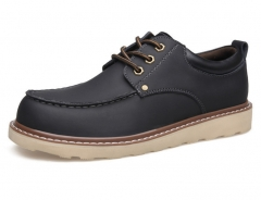 New madman leather Korean casual shoes men 's shoes with Martin shoes The charcoal color 38