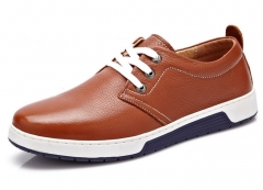 New soft bottom soft breathable leather shoes trend of the British board shoes yellow 38