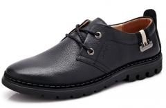 Men 's leather shoes men' s casual shoes Handmade deep mouth single shoes black 38