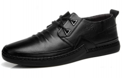 The new men 's leather shoes soft surface men' s casual shoes pure handmade men 's casual shoes black 38