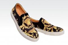 Popular leisure Medusa men 's shoes printing breathable lazy skateboard shoes Lefu shoes yellow 38