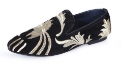 The new leather Peas shoes hand - embroidered Lefu shoes men 's shoes casual shoes black 38