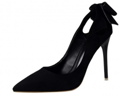 Sweet high-heeled shoes with thin thin high-heeled suede shallow bowed hollow pointed bow shoes black 34