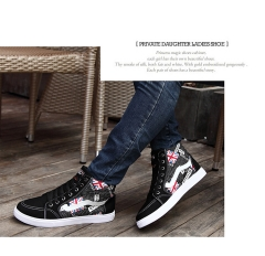 National wind British high - top shoes to help men 's shoes personality tidal shoes canvas shoes black 39