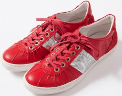 Board shoes tide Spring and Autumn wild low tie lace casual British round red 39