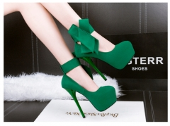 Fashion ultra high heel nightclub sexy shallow mouth waterproof thin pointed bow shoes Green 34