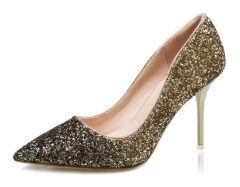 Sexy pointed shallow mouth high-heeled shoes with thin sequins thin thin color single shoes golden 34
