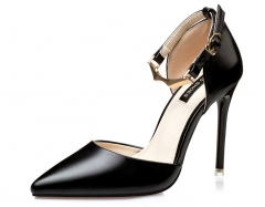 Pointed high-heeled shoes with a single word deduction single-mouth side of the air sexy sandals black 34