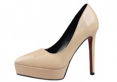 Fashion simple high-heeled shoes, pointed shallow with waterproof platform OL single shoes apricot 34
