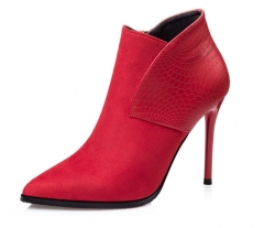 Thin high - heeled thin high - heeled thin with Martin pointed boots boots bare sexy boots red 34