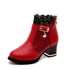 Martin boots high - heeled women 's boots with ankle boots sexy lace round head women' s shoes red 35