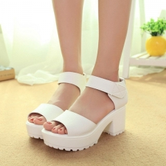 Thick with the water table fish head sandals female summer shoes with heavy-bottomed shoes white 35