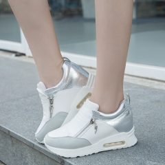 Air-cushion thick-end breathable flat-bottomed sports shoes trend running shoes wild shoes white 35